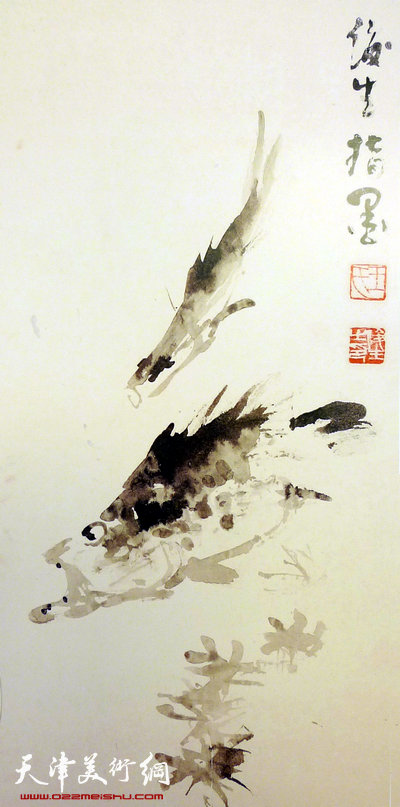 王俊生水墨画:《江鳞出波》