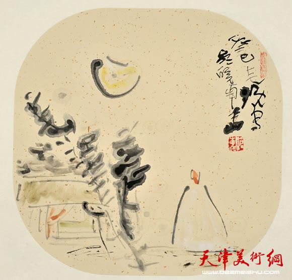 尹沧海指墨画作品《秋月》