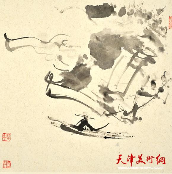 尹沧海指墨画作品《五湖泛舟》