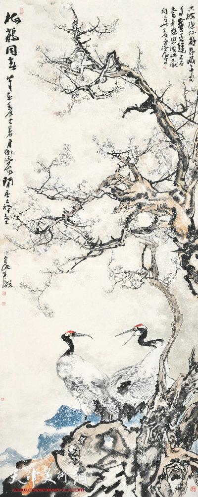 尹沧海作品:《梅鹤同春》