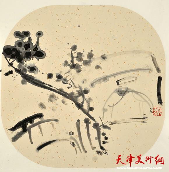 尹沧海指墨画作品《清溪草堂图》