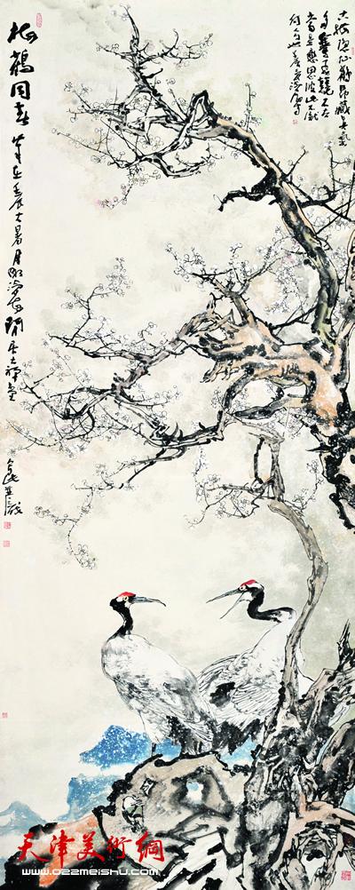 尹沧海作品《梅鹤同春》
