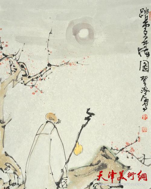 尹沧海作品《踏雪寻梅图》