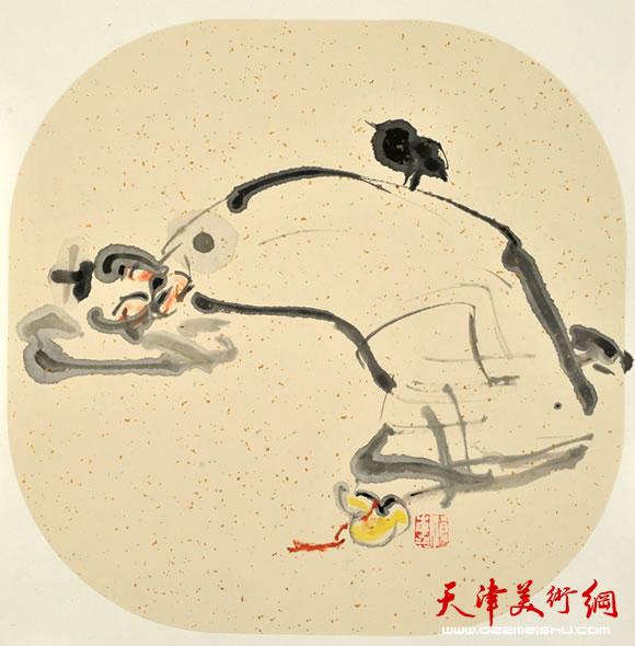 尹沧海指墨画作品《不归》