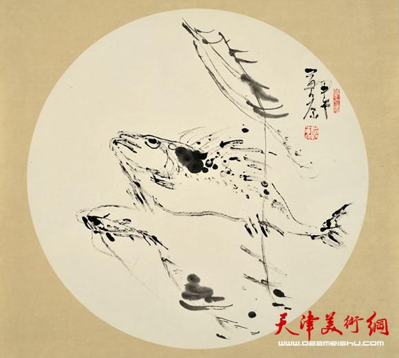尹沧海指墨画作品《鱼之乐》