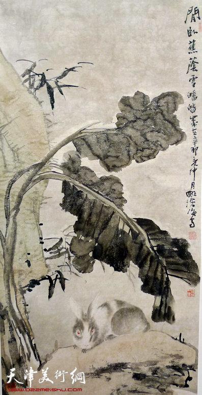 尹沧海作品:《闲卧蕉荫》