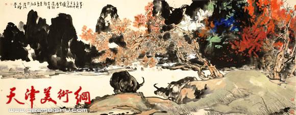尹沧海指墨画作品《阳朔之秋》