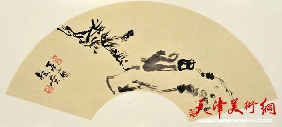 尹沧海指墨画作品《幽人应未眠》