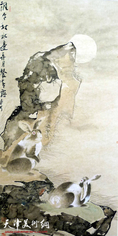 尹沧海作品:《秋水弄月》
