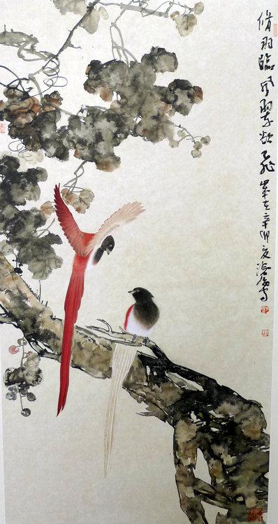 尹沧海作品:《修羽临风翠欲飞》