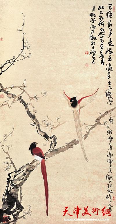 尹沧海作品《白梅绶带 》