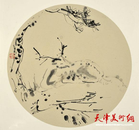 沧海指墨画作品《松溪栖鹿图》