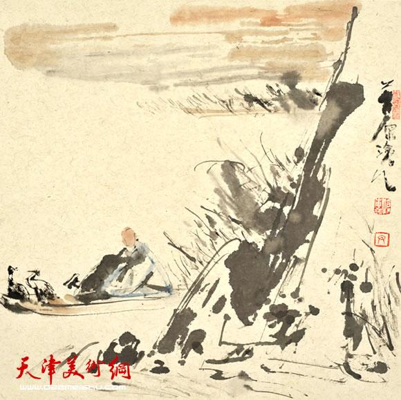 尹沧海指墨画作品《夕阳山外山》