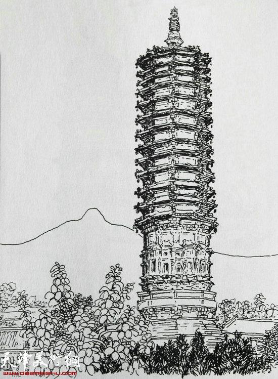焦俊华作品 中国之塔:《昌黎源影塔》