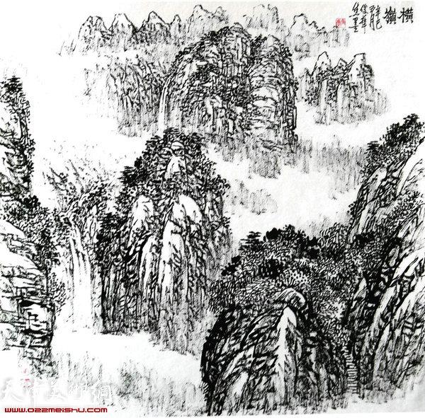 焦俊华山水画作品:《横岩》