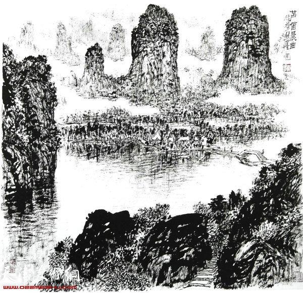 焦俊华山水画作品:《芦笛晨曲》