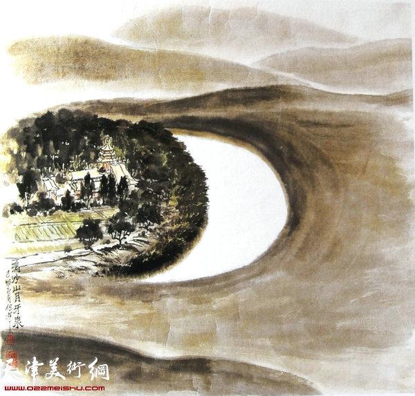 焦俊华山水画作品:《鸣沙山月牙泉》
