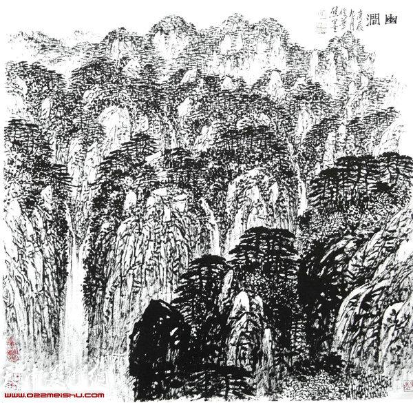 焦俊华山水画作品:《升龙瀑》