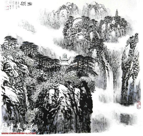 焦俊华山水画作品:《嶂岩夏会》
