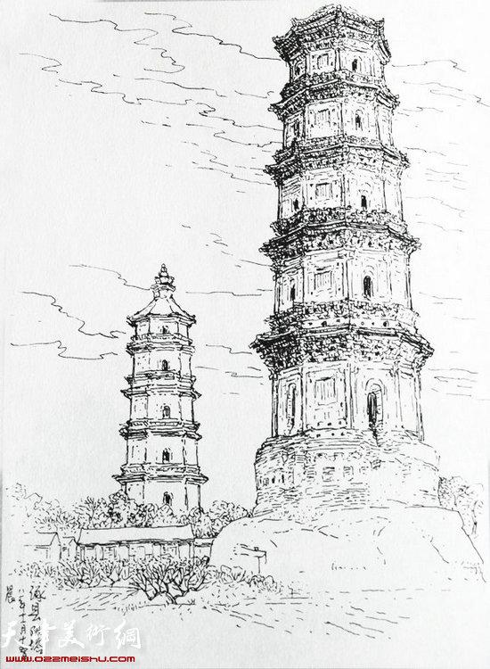 简笔画 建筑 旅游 手绘 塔 线稿 550_750 竖版 竖屏
