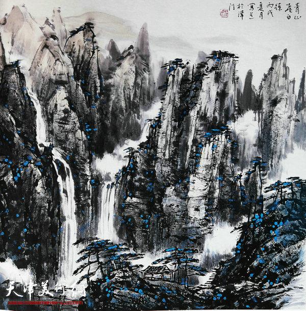 姚广厚山水作品《白练飞瀑比匡庐》
