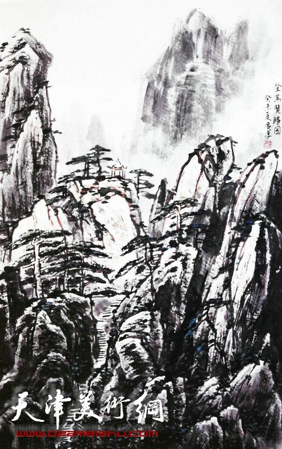 姚广厚山水作品《登山览胜图》