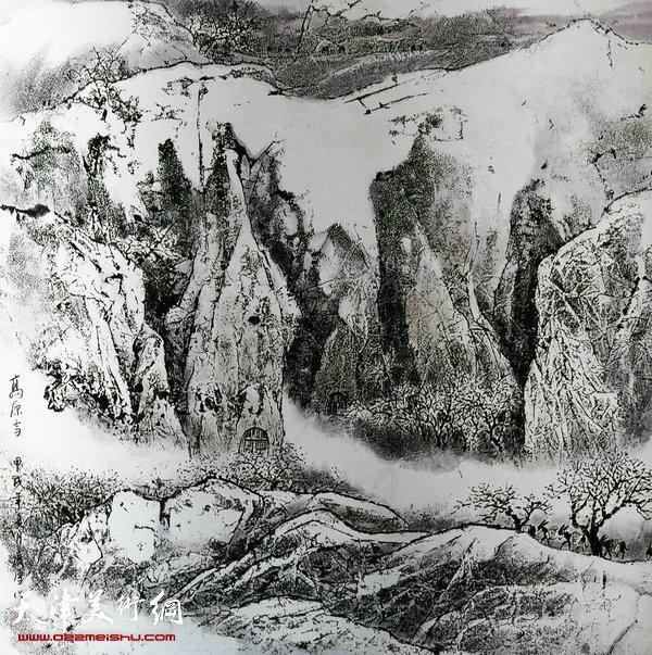 姚广厚山水作品《高原雪》