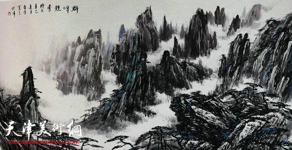 姚广厚山水作品《群山竞幽秀》