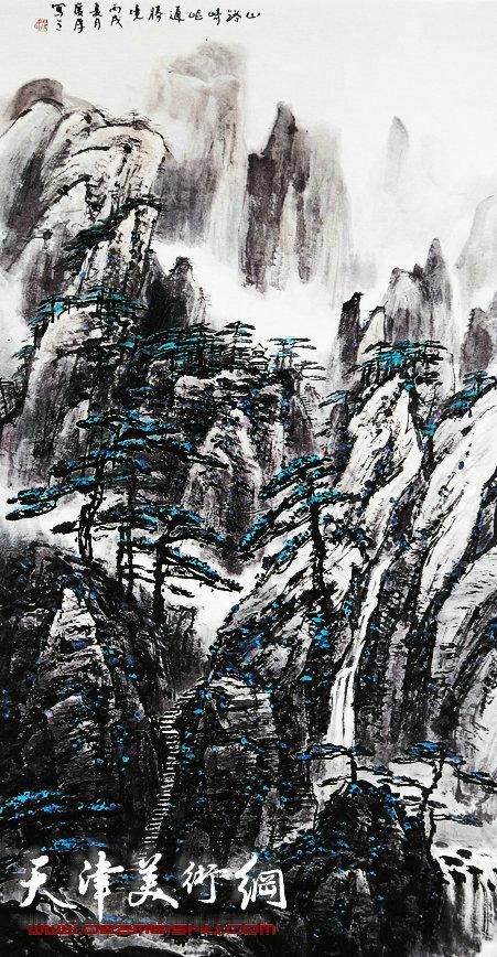 姚广厚山水作品《山路崎岖通胜境》