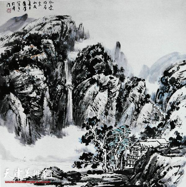 姚广厚山水作品《水边人家》