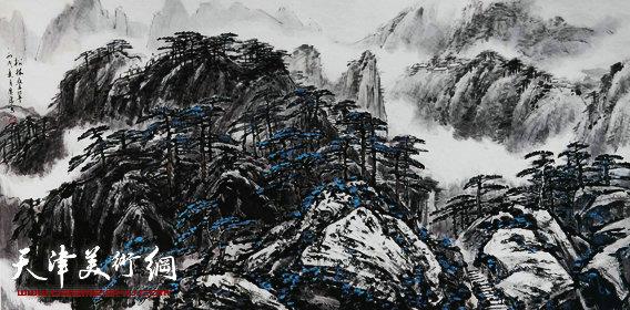 姚广厚山水作品《松林叠翠》