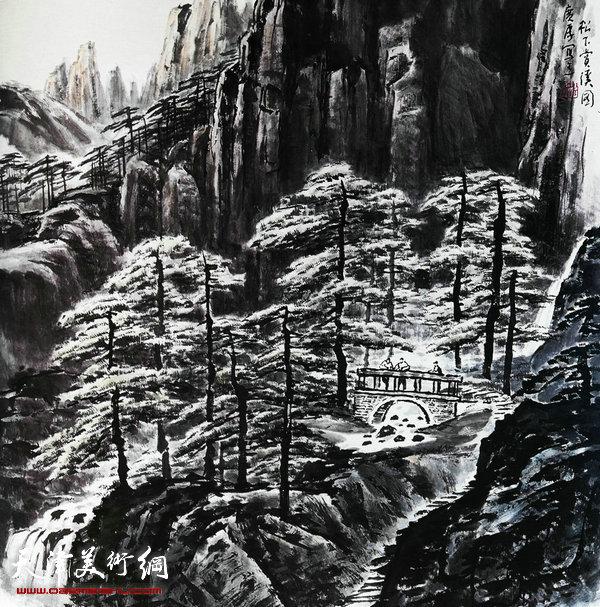 姚广厚山水作品《松下赏溪图》