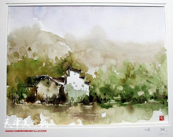 西递水彩风景画临摹图片 www.022meishu.com 宽600x474高