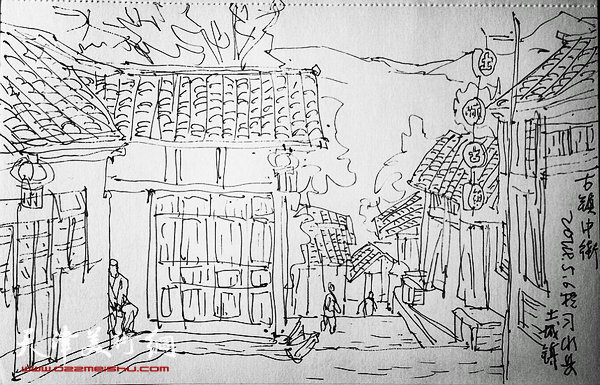 古镇房子素描简笔画
