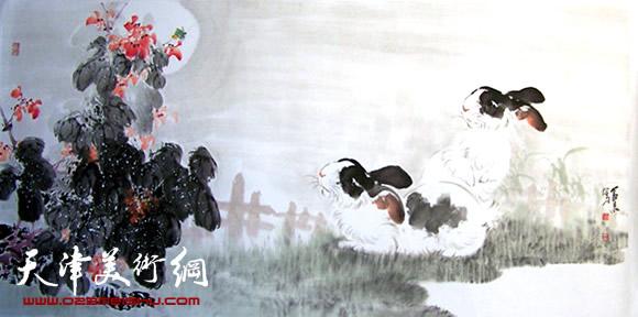孙富泉作品《双兔望月》