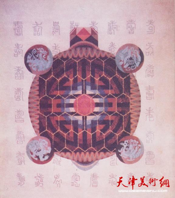 何敏杰壁毯作品《龟寿图》