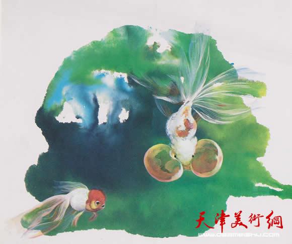 蓝色植物水彩风景画