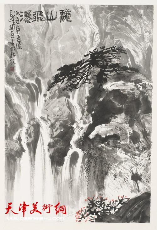 贾冰吾作品《龟山飞瀑》