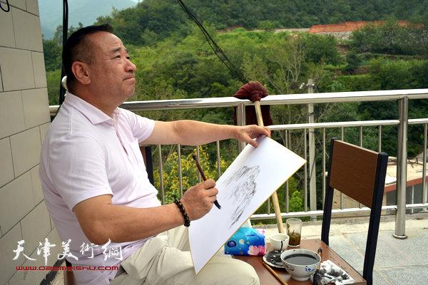 贾冰吾在太行山区写生