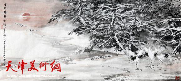 贾冰吾作品《雪松舞鹤图》