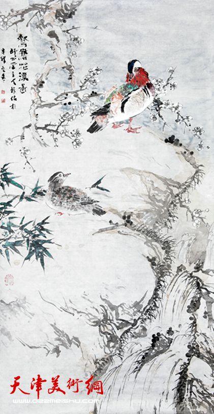 贾冰吾作品《鸳鸯花溪图》