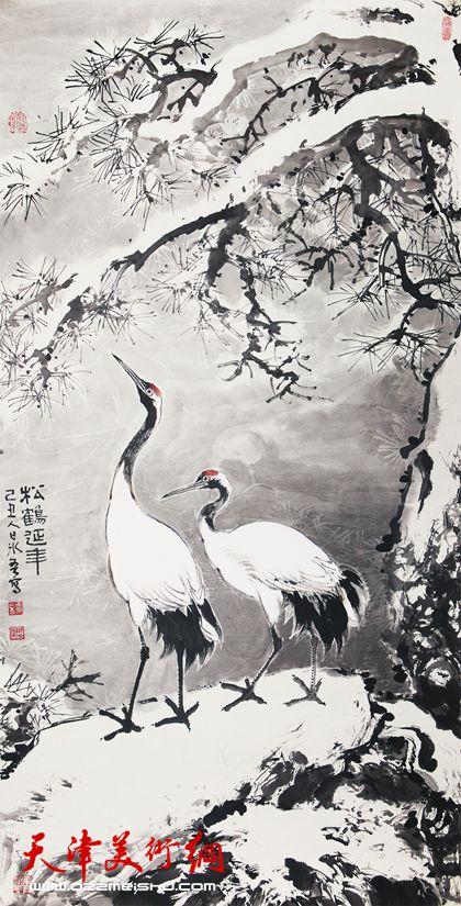 贾冰吾作品《松鹤延年》