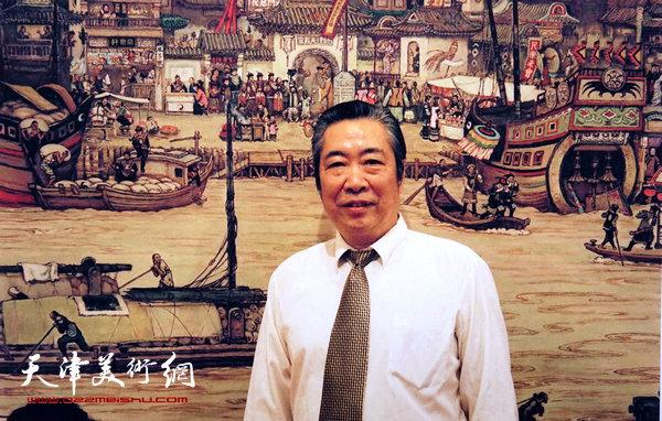 邓家驹1998年在深圳《图说天津600年》画展上