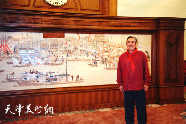 邓家驹2003年在天津迎宾馆创作《漕运图》