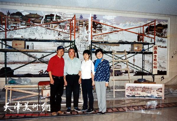 邓家驹2003年在天津迎宾馆创作《漕运图》现场