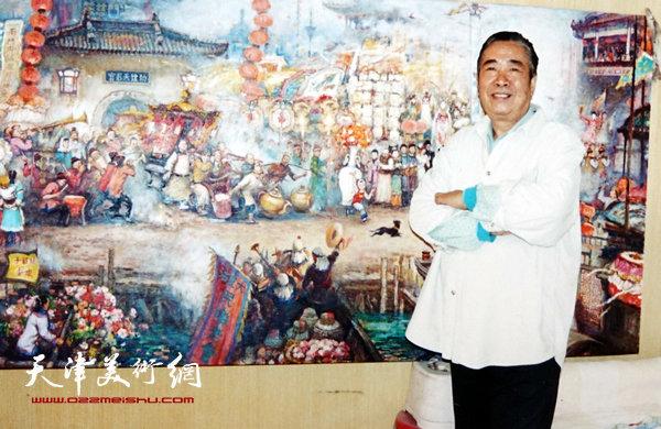 邓家驹在创作《皇会图》(2003年)