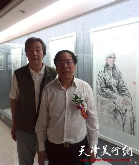 张亚光和天津画院党组书记陈英杰(右)在一起