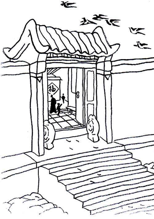 中国大门简笔画