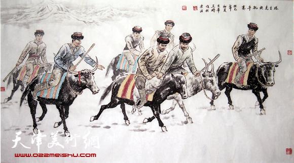 王时作品《塔吉克族耗牛赛》