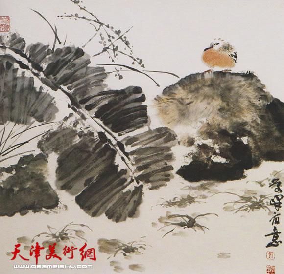 刘学峰作品《丛蕉孤石任风雨》